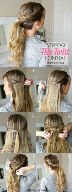 Everyday Flip Twist Ponytail Hair Tutorial: Ponytails are such a great go-to hairstyle. They're quick, easy, and get all of your hair up and out of the way.Everyday Flip Twist Ponytail, On a regular basis Flip Twist Ponytail ❁l o v e l i okay e l o l Easy To Do Hairstyles, 5 Minute Hairstyles, Simple Ponytail Hairstyles, Ponytail Hairstyles Tutorial, Twisted Hairstyles, 1920s Hairstyles, Hair Updo Easy, Easy Everyday Hairstyles, Easy Hairstyles For School