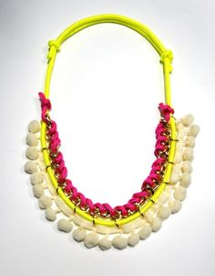 Neon cords pompom necklace by beh1ndbymk on Etsy