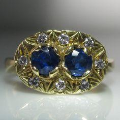 Vintage Diamond and Sapphire Ring Vintage Diamond, Vintage Rings, Unique Vintage, Vintage Jewelry, Diamond Rings, Diamond Engagement Rings, Gemstone Rings, Engagement Jewelry, Irish Jewelry