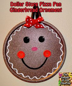 Gingerbread Dollar Store Pizza Pan Ornament& & Dollar Store Pizza Pans, Glitter Blast Spray, and Acrylic Paints I was able to make this adorable Extra Large Christmas Ornament. Gingerbread Ornaments, Gingerbread Decorations, Christmas Gingerbread, Gingerbread Men, Christmas Pizza, Homemade Christmas, Christmas Fun, Christmas Scents, Christmas Clipart