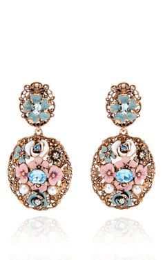 Shop Baroque Floral Earrings by Oscar de la Renta Now Available on Moda Operandi