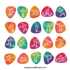 Olympic sports with colored abstract shapes  Free Vector