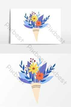 Cartoon small flower bouquet holiday elements#pikbest#templates Small Flower Bouquet, Small Flowers, Teachers Day Poster, Spring Plants, Torn Paper, Hello Spring, Sign Design, Planting Flowers, Templates