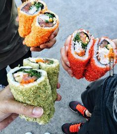 "you want japanese food or mexican?"" have some Sushi-Burrito ""do you want japanese food or mexican?"" have some Sushi-Burrito""do you want japanese food or mexican?"" have some Sushi-Burrito Cute Food, I Love Food, Good Food, Yummy Food, Tasty, Sushi Recipes, Cooking Recipes, Cucumber Recipes, Cooking Tips"