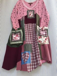 Upcycled Pink Patchwork French Country English Garden Dress