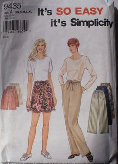 Easy Women's Pants or Shorts Pattern  Simplicity by Shelleyville