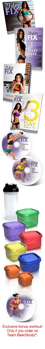 Item #: 21DayFixFSH Lose up to 15 pounds in 21 days! With 21 Day Fix, simple fitness and simple eating means fast results. Easy-to-follow portion control and 30-minute workouts take the guesswork o...