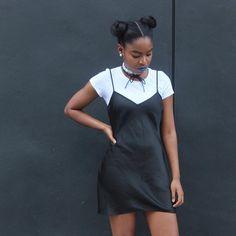 white t-shirt + black slip dress T Shirt Under Dress, Tee Dress, Dress Outfits, Cute Outfits, Fashion Outfits, Trendy Black Outfits, How To Wear Shirt, Black Slip Dress, White Slip