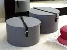 Hat Box with Leather Strap, The Holding Company,  Small: D34 x H22.5cm Large: D36 x H25.5cm