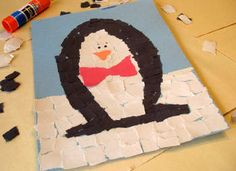 This fun mosaic penguin, originally created by Amanda Formaro for Kaboose, is a wintertime classic craft! Your kids will love it!