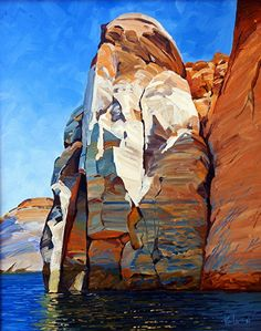 The Sentinel, Oil, 20x16 by Ron Larson Oil ~ 20 x 16, Lake Powell