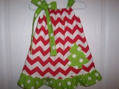 Girls Christmas pillowcase dress red chevron with lime green white dots ruffle tree applique infant thru size 6 on Etsy, $16.49