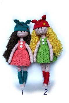 Puppe häkeln Tilda Puppe Amigurumi Spielzeug Stuffed Puppen Amigurumi Puppe Dressed Puppe Wirk-und Puppe ♥ Plüsch Puppe Puppe mit Kleidern