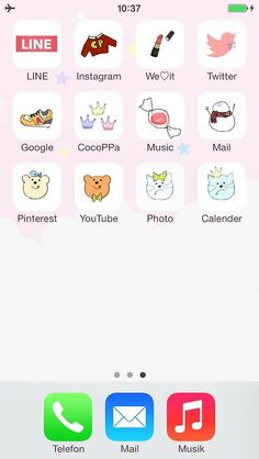 My iPhone home screen (made with CocoPPa) #cocoppa #iphone #cute #icon #wallpaper #homescreen #kawaii #pastel #pop