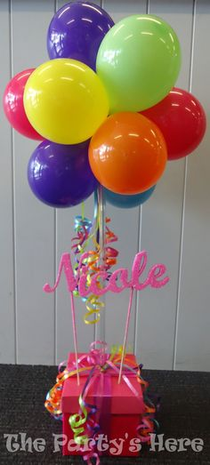 Custom made glitter name on a topiary tree arrangement. Such gorgeous colours! But you can always change them, we have hundreds to choose from. Air filled option, great value, long-lasting.   www.thepartyshere.com.au   #balloons #rainbow #colours #qualatex #iamconwin #glitter #pink #party