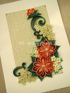 © Zea- Quilling dreams - Quilled flower cards (Searched by Châu Khang) Neli Quilling, Paper Quilling Flowers, Quilled Paper Art, Quilling Paper Craft, Paper Crafts, Quilling Patterns, Quilling Designs, Quiling Cards, Quilling Photo Frames