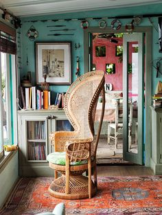Boho reading spot - peacock chair