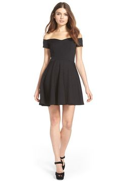 Free shipping and returns on MISSGUIDED Off the Shoulder Skater Dress at Nordstrom.com. Off-the-shoulder sleeves and a subtle sweetheart neckline offer a flirty twist on the classic little black dress. Vertical bodice seams create flattering shape, while the flouncy skater skirt is perfect for your best twirl.