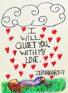 "Scriptural Doodle Art - Zeph 3:17 ""I will quiet you with My love..."" #BybelBeloftes #beStill"