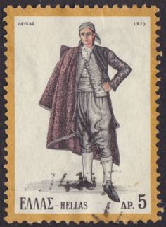 Greek Stamps - art and Thematic Folk Costume, Costumes, Greek Traditional Dress, Vintage Stamps, My Stamp, Painting, Music, Seals, Greece