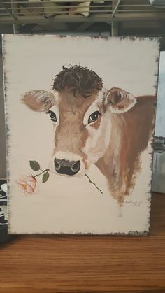 Cow Painting, Stencil Painting, Painting & Drawing, Watercolor Paintings, Animal Paintings, Animal Drawings, Painting Inspiration, Art Inspo, Cow Craft