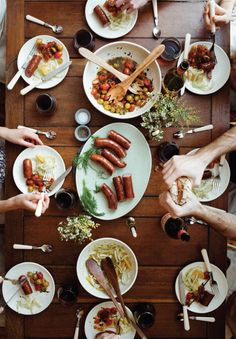 a surprisingly light feast featuring sausages