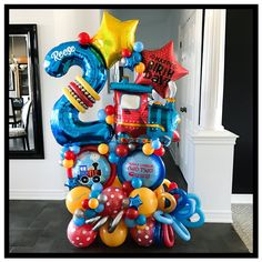 Thomas The Train, Balloon Bouquet, Two Year Olds, Balloon Decorations, Bouquets, Two By Two, Display, Boutique, Birthday
