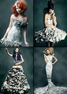 ℘ Paper Dress Prettiness ℘ art dress made of paper Jennifer Lynn Paper Fashion, Fashion Art, Fashion Show, Fashion Design, Paper Clothes, Paper Dresses, Costume Original, Recycled Dress, Recycled Clothing