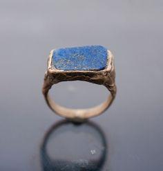 bronze ring // lapislazzuli ring // stone ring // ancient ring