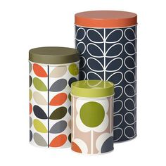 Bring stylish storage to your kitchen with this set of three Assorted Storage Tins from Orla Kiely. Made from tin, they feature the designer's iconic patterns in complementing retro-inspired colours.