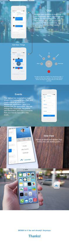 FaceBook Messenger App Redesign by Liam Shalon, via Behance