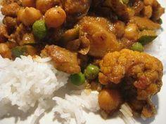 America's Test Kitchen Indian Style Curry - potato, chick pea, zucchini, cauliflower and peas
