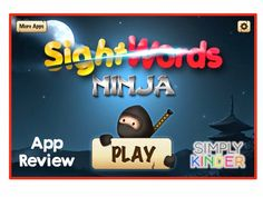 Sight Word Ninja app review by Simply Kinder!  Great app that has kids slicing the correct sight word.  You can fully customize the words so it's a great resource!  #SimplyKinder  Great for Kindergarten!