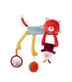 Divertido y original juguete para bebés. Lillyputiens tiene toda una gama de juguetes pensada para los más peques de la casa. Este simpático gato se coloca en la barra del maxicosi o cochecito dejando al alcance del niño todos los accesorios que tienen para jugar. Espejos, cintas y bolas se unen en este magnífico accesorio para que el bebé pase el tiempo jugando con ellos.
