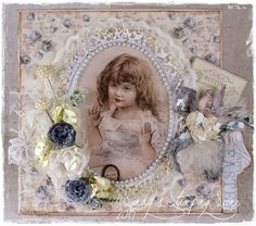 "Shabby Easter Card created by LLC DT Member Sandra Mathis, using images and papers from Pion Design's ""Alma's Sewing Room"" collection."