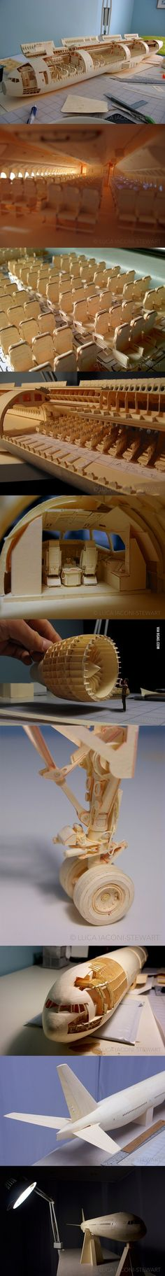 Artist Luca Iaconi-Stewart builds entire Boeing 777 aircraft in 1:60 scale out of nothing but manilla paper