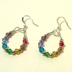 Chakra Crystal Hoops [CESST12RB0H] - $15.00 : Chain Effects Handcrafted Jewelry, Handmade Jewelry