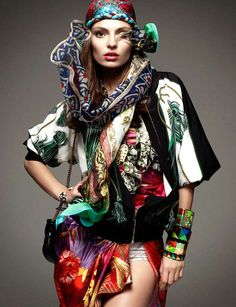 Scarf-Exploding Styles  The Vogue Germany January 2012 Editorial Stars the Colorful Carola Remer