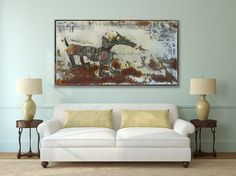 Original Dachshund Large Iron Art / Puppy Rustic Acrylic Painting / Dog Animal Room Decor Art / Gift for Animal Lovers