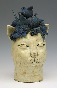 clay, cat, detail. ceramic sculpture animal by sara swink