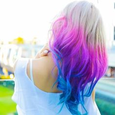 New ideas hair color ombre blue pink - Hair World Blue And Pink Hair, Pink Ombre Hair, Blonde With Pink, Brown Ombre Hair, Ombre Hair Color, Cool Hair Color, Pink Purple Blue Hair, Purple Ombre, Hair Colors