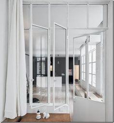 Drzwi z metalu i szkła / metal  - podział salonu z kuchnią