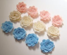 Felt Flower Rose Tiny Flower Collection Set of 12 Light Pink Baby Blue and Ivory on Etsy, $5.99