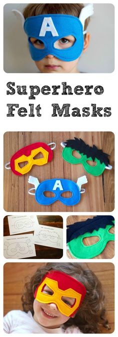 Sewing For Kids Superhero Felt Masks - A PDF sewing pattern - Captain America, Hulk and Ironman - I'm super excited to announce that the PDF patterns for my felt Superhero Masks are now available in my Etsy store . Sewing For Kids, Diy For Kids, Crafts For Kids, Felt Diy, Felt Crafts, Sewing Crafts, Sewing Projects, Superhero Capes, Superhero Halloween