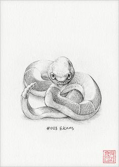 Ekans  5 x 7 print by DrawingsofHeroes on Etsy, $9.00