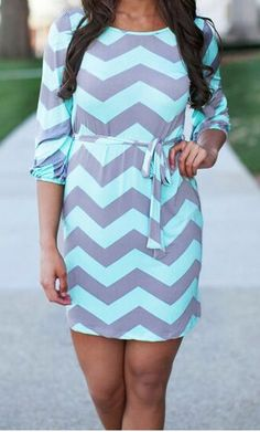 MEANT TO BE MINT CHVRON DRESS