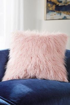Next Faux Mongolian Fur Large Square Cushion - Pink How To Make Bed, Next Uk, Cushions, Fur, Throw Pillows, Pink, Stuff To Buy, Rustic, Living Room