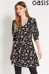 Oasis Black And White Bird Dress