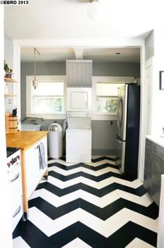 , chevron-painted kitchen floor