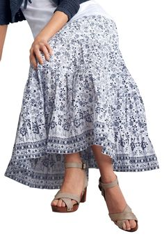 """Long 5-tier skirt with elastic waist. Fully lined.Fabric: 100% cotton cambric wovenMachine wash coldImportedMeasurementsLength: Above ankle34"""""""
